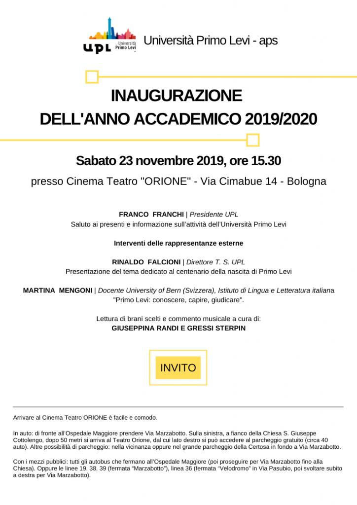 Programma dell'Inaugurazione A.A. 2019/2020