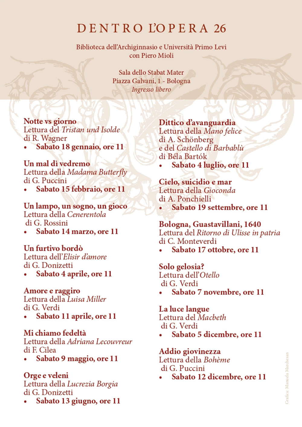 Tutte le date della rassegna Dentro l'opera 26