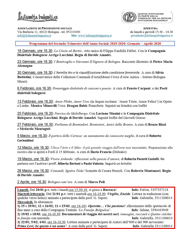 Programma gennaio-aprile 2020 / La Famèja Bulgnèisa