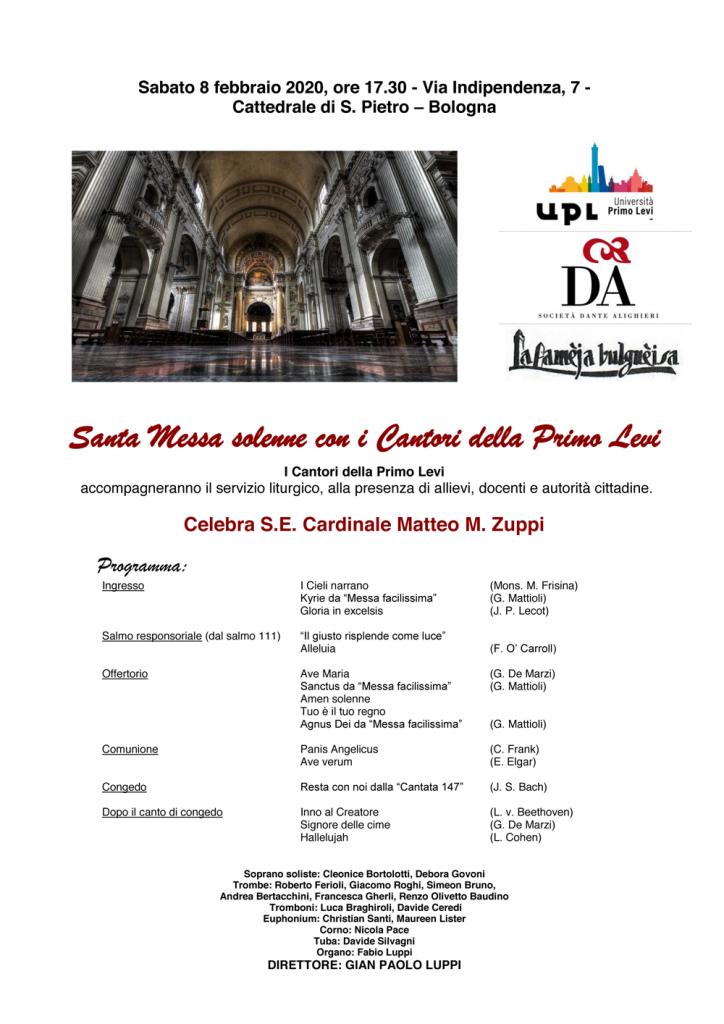Santa Messa solenne con i Cantori della Primo Levi - sabato 8 febbraio 2020