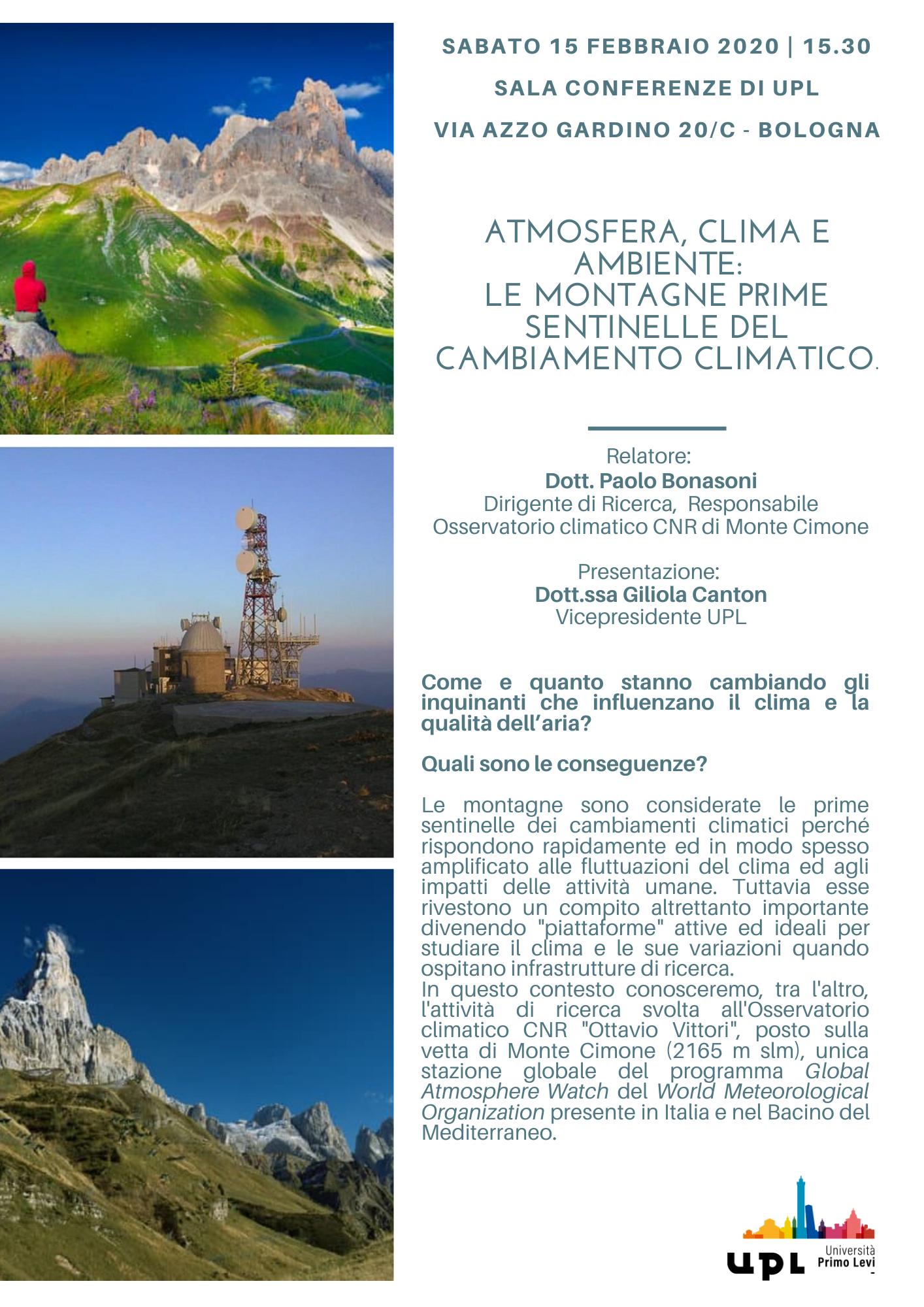 Atmosfera, clima e ambiente: le montagne prime sentinelle del cambiamento climatico - sabato 15 febbraio 2020 @UPL