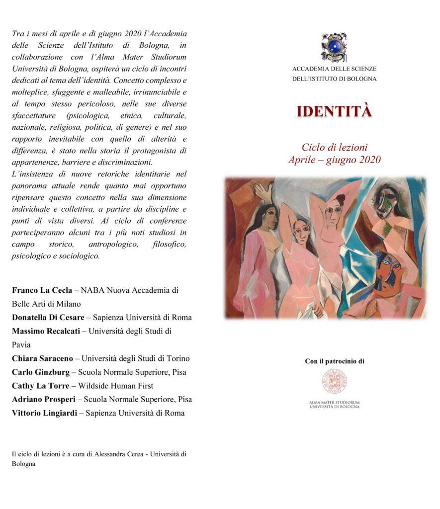 """Accademia delle Scienze – Ciclo di lezioni sul tema """"IDENTITÀ"""" - aprile/giugno 2020"""