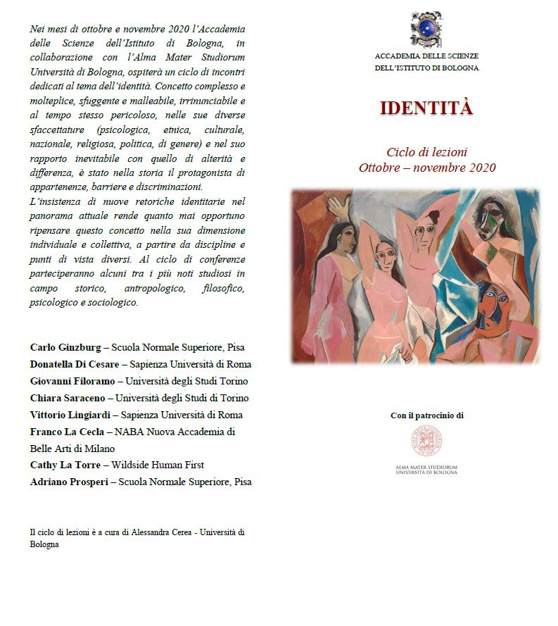 Accademia delle Scienze - Ciclo di lezioni sull'IDENTITA' - autunno 2020