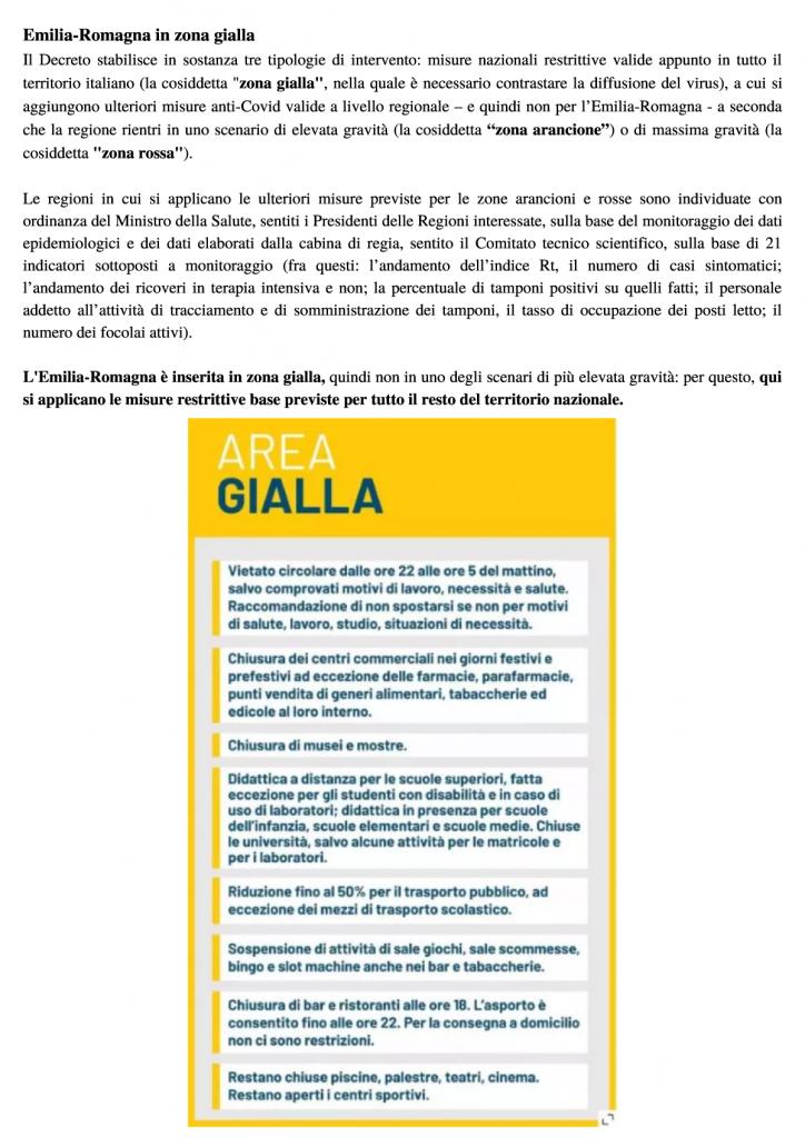 Comunicato della Regione Emilia-Romagna - Provvedimenti in vigore dal 6 novembre 2020