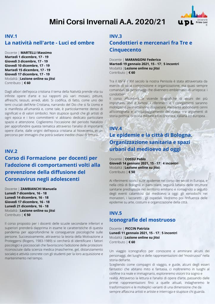 Mini corsi invernali - UPL A.A. 2020/21