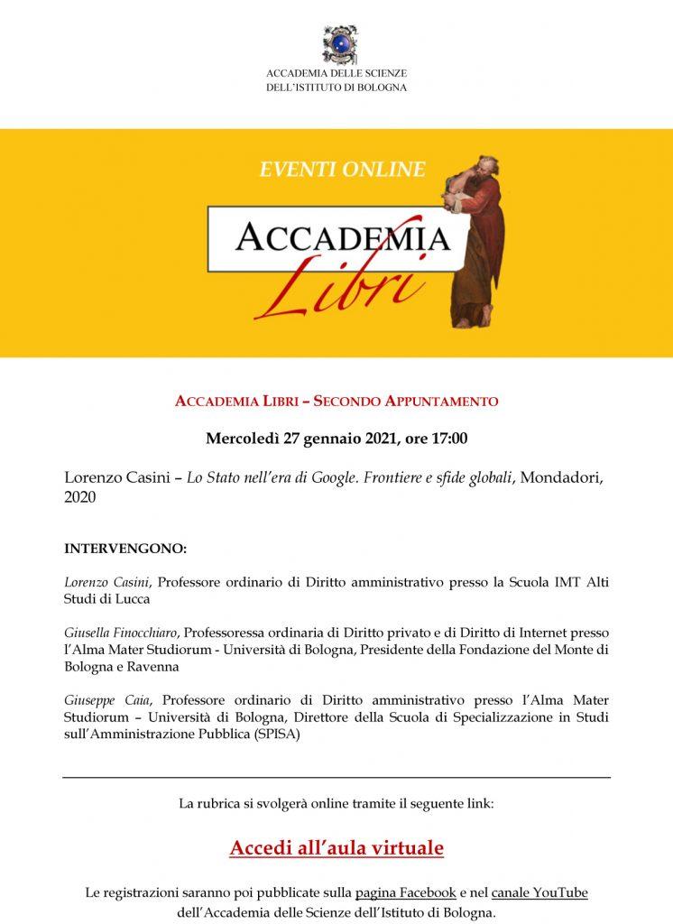 Accademia Libri, 27 gennaio 2021 - Lorenzo Casini, Lo Stato nell'era di Google